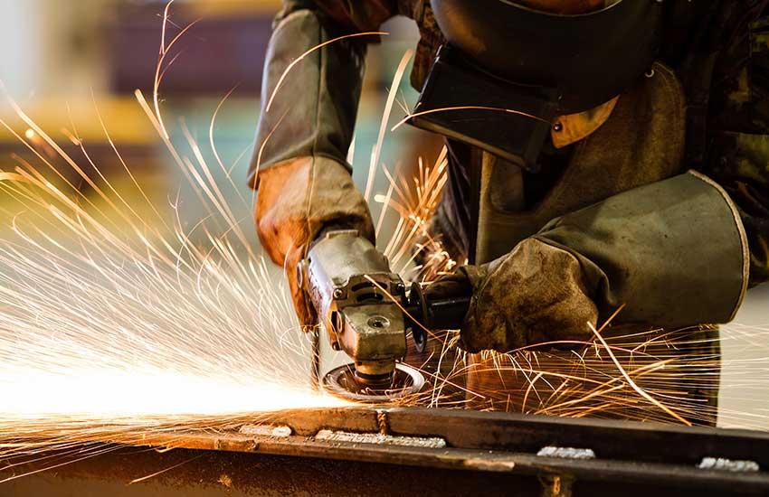 Man doing grinding work