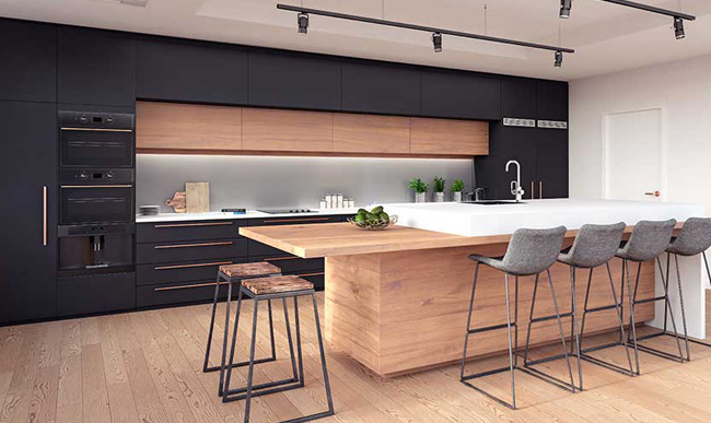 Fully equipped wooden kitchen design.