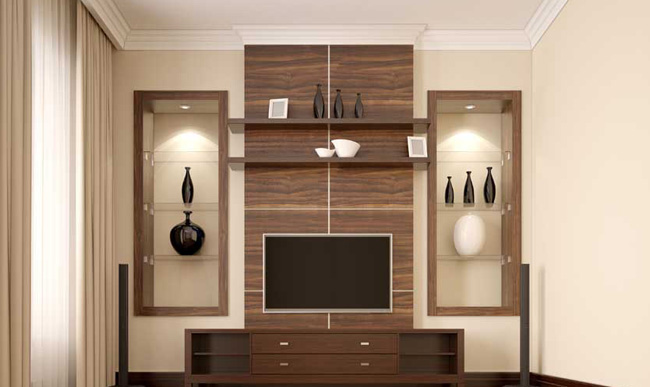 Modern living room with TV wall unit