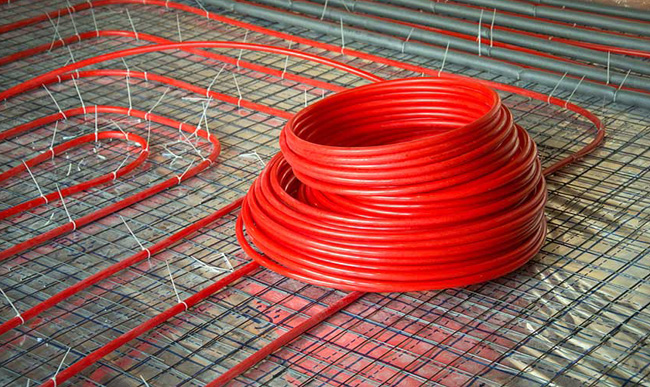 Bundle of red wires.