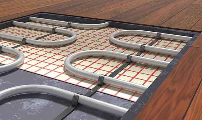 Electric Underfloor heating on the wooden floor.