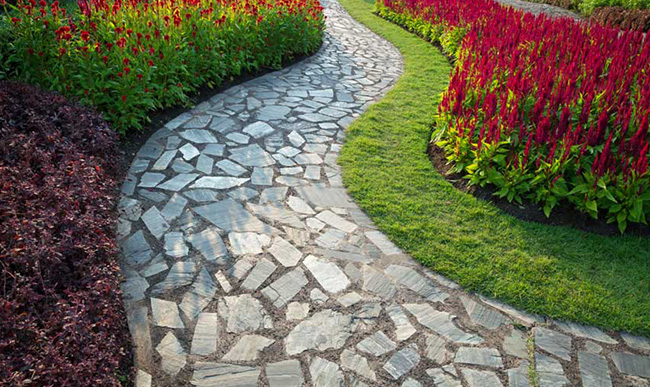 Block paving in a beautiful garden