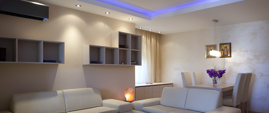 White interior with bespoke lighting solution.