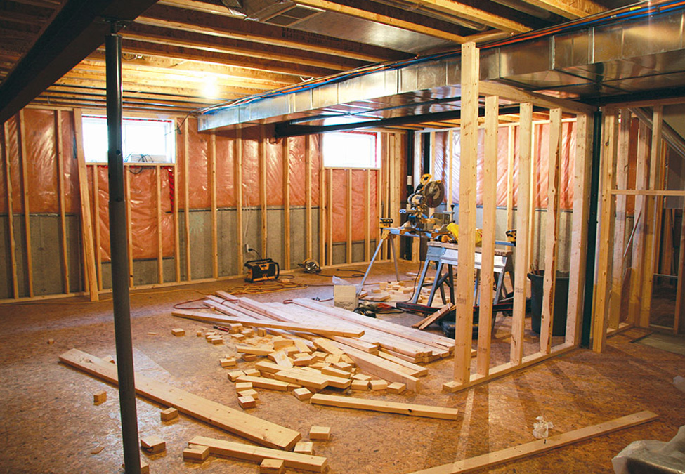 Wooden basement renovation work in progress